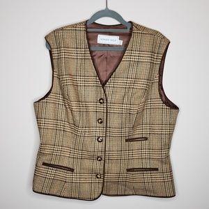 Vintage Howard Wolf Plaid Button Front Wool Vest